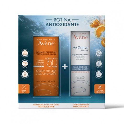 Avène Rotina Antioxidante Solar Creme anti-idade pele sensível SPF50+ |50 mL + A-Oxitive Dia Aqua-cr