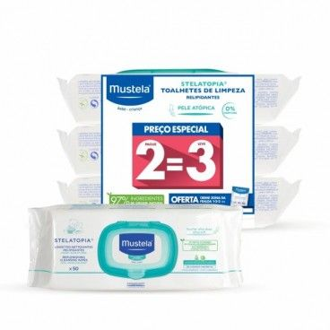 Mustela Baby Atopic Skin Stelatopia Trio Relipidating Cleansing Wipes with 3rd Pack Offer and Changi